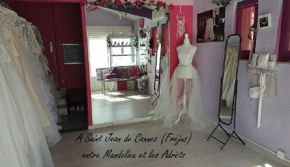 salon d'essayages de mariage en rose